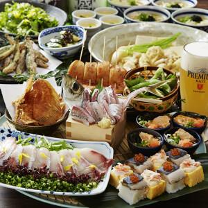 新年会・歓送迎会はぜひ魚盛で!ご宴会コースは、飲み放題付3,580円・4580円・5,090円とご用意!